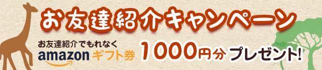 お友達紹介キャンペーン お友達紹介でもれなくアマゾンギフト券1000円分プレゼント