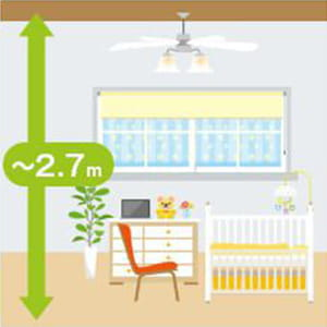 2.7mまでの普通の天井 マンション等の一般的な天井高