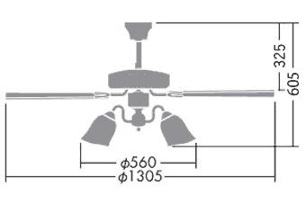 DP-35202G + DP-37982 + DP-35207 LED 電球色 6灯 DAIKO(ダイコー)製シーリングファンライト
