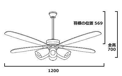 YCF-112S4SS/YCF-112S + P40S 傾斜対応 LED 電球色 6灯 DAIKO(ダイコー)製シーリングファンライト