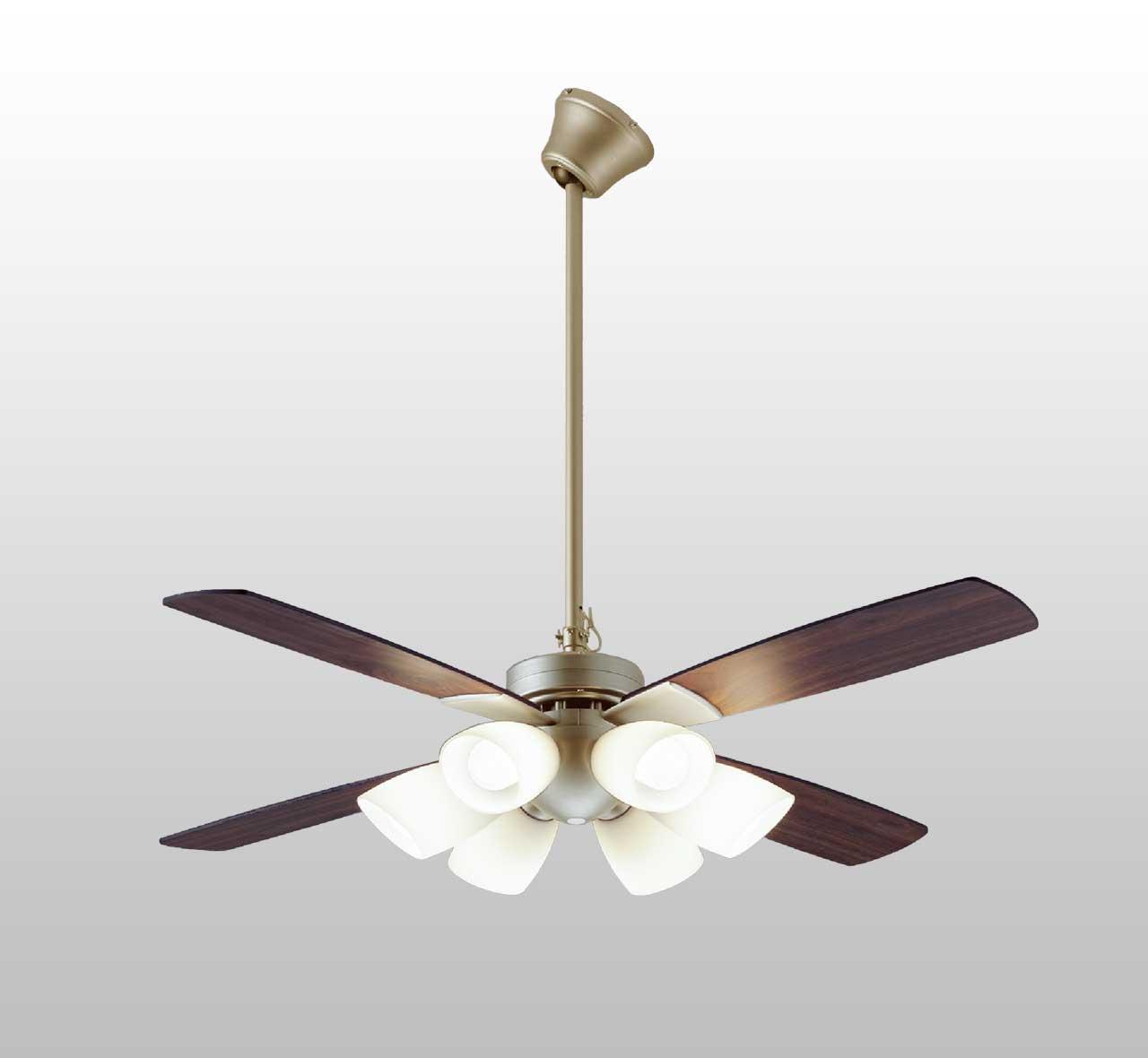YCF-112S6SS/YCF-112S + P60S + LED133CWF 傾斜対応 LED 昼白色 6灯 DAIKO(ダイコー)製シーリングファンライト