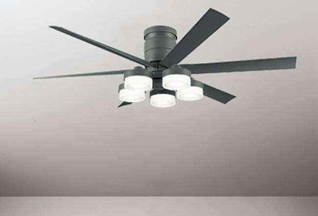 WF247 + WF270PR,高演色LED [R15]  大風量 LED 調光・光色切替(電球色-昼白色) 5灯 薄型 ODELIC(オーデリック)製シーリングファンライト