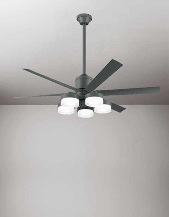 WF249 + WF270PC + WF738 大風量 傾斜対応 LED 調光・光色切替(電球色-昼白色) 5灯 ODELIC(オーデリック)製シーリングファンライト