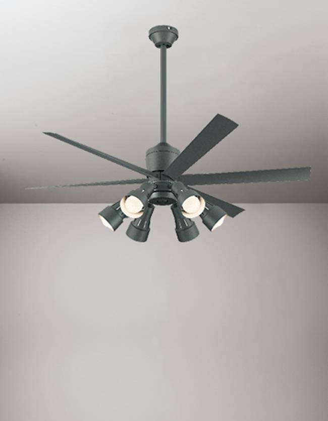 WF249 + WF279PC + WF738 大風量 傾斜対応 LED 調光・光色切替(電球色-昼白色) 6灯 ODELIC(オーデリック)製シーリングファンライト