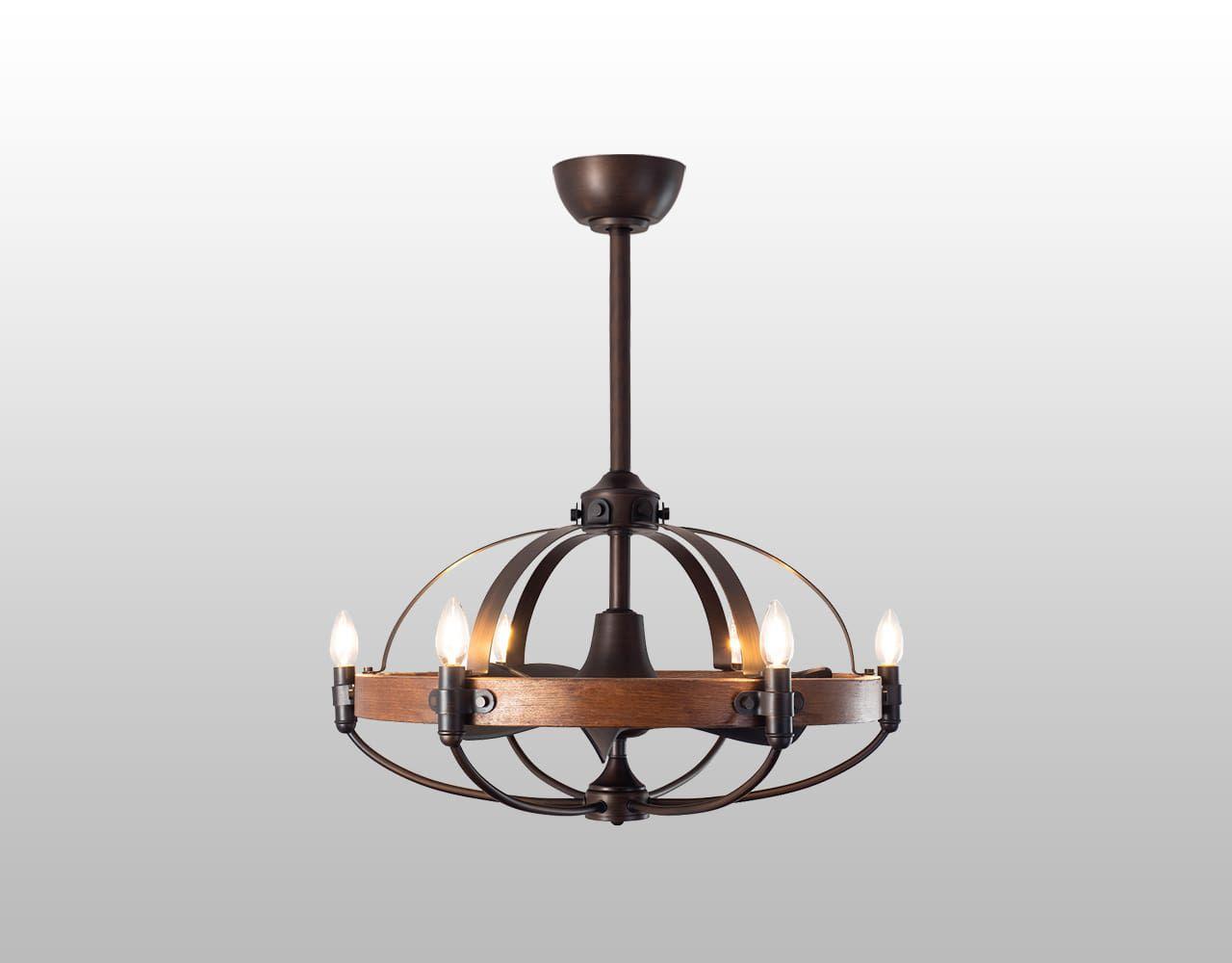 AS-5190-6 + AS-5190-6-30cm,ファンデリア  大風量 LED 電球色 6灯 小型 ORRB(オーブ)製シーリングファンライト