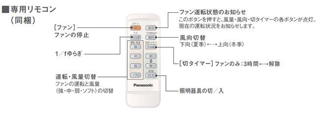 SP7072 大風量 軽量 Panasonic(パナソニック)製シーリングファン