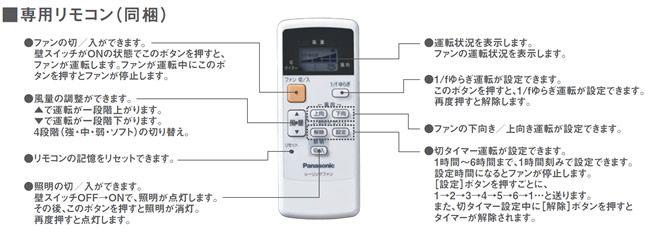 SP7081 大風量 軽量 Panasonic(パナソニック)製シーリングファン