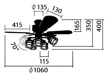 YCF-377IV,Freely5 (フリーリィ) YOUWA(ユーワ)製シーリングファンライト【生産終了品】