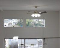 神奈川区 1階リビング 吹き抜け シーリングファンライト取り付け工事