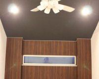 目黒区 2階リビング 傾斜天井 チラつき軽減 シーリングファンライト取り付け工事