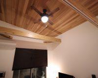 藤沢市 戸建て 傾斜天井 ハモサ製シーリングファンライト 取付工事