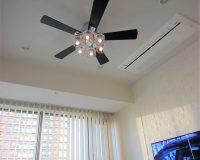 東京都中央区 マンション 普通天井2.4m オーデリック製シーリングファンライト 取付工事事例