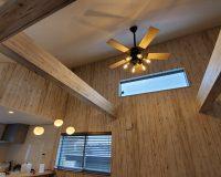 横浜市 戸建て 傾斜天井 新規配線含む ファンとペンダントライト設置工事