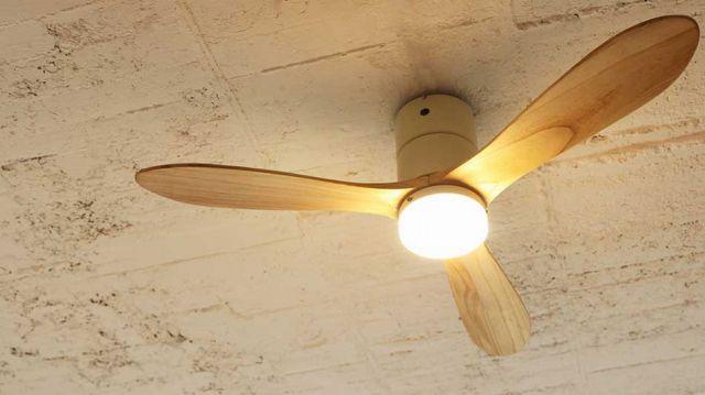 即日発送 大風量 LED 調光 電球色 1灯 薄型 軽量 JAVALO ELF Modern Collection REAL wood blades JE-CF017M WH 阪和製シーリングファンライト【WCE014】